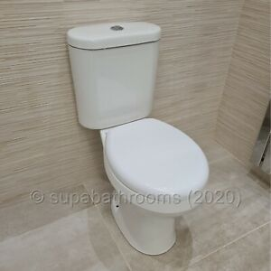 Roebourne Ceramic Close Coupled WC Toilet Pan, Cistern & Seat