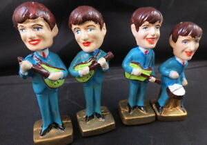 THE BEATLES FAB Lot Set of FOUR NODDER BOBBLEHEAD SET VINTAGE REPRO John Lennon