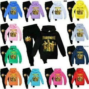 Fortnite Kinder Jungen Mädchen Outfit Hoodie Hosen Trainingsanzug Sportswear Set
