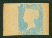 1841 2d blue what is thought to be a rough print trial on card with traces of...