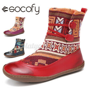 SOCOFY Womens Soft Ankle Boots Elastic Band Outdoor Walking Shoes Casual Fl