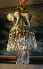 Chandelier lamp Monkey Porcelain Brass SWAG Palm vintage Beaded crystal prisms
