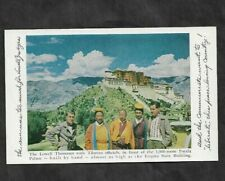LOWELL THOMAS  AT POTALA PALACE TIBET POSTCARD PROMOTING 1950 OUT OF THIS WORLD