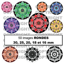 50 Images digitales cabochon Mandala fleur multicolore rose jaune bleu etc. ROND