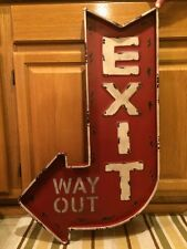"EXIT WAY OUT Large 32"" Metal Red Arrow Theater Man Cave Garage Vintage Look"