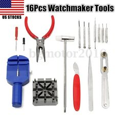 16PCS PC Watch Repair Set Kit Pin Strap Remover Opener Battery Change Tool ZX5