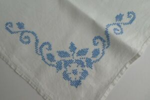 """Vintage Small  Linen Tablecloth - Hand Embroidered Cross Stitch appr. 32"""" x 32"""""""