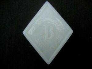 Boyd Glass Company Dealer Sign Logo Paperweight Milk White Diamond Shape Crystal