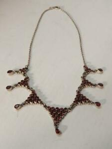 VINTAGE MEXICAN STERLING SILVER GARNET NECKLACE - BEAUTIFUL DROPS - FINE GIFT !