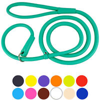 Rolled Leather Slip Show Lead Collar Leash Round Training lead  4 or 6 feet