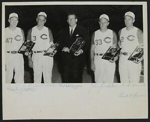 Cincinnati Reds Baseball HOFers AUTOGRAPHED Photo w/ Lombardi & PSA LOA