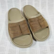 Crocs Yukon Mesa Slides Sandals Mens Size 11 Khaki Espresso w Leather