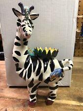 "Very Rare 2000 Blue Sky Clayworks Heather Goldmine Zebra Candle Holder 11"" T"