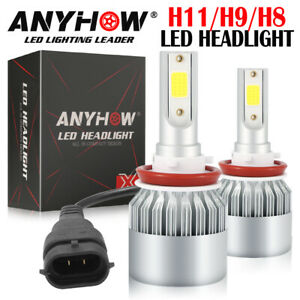 H11 Cree LED Headlight 6000K Low High Beam Fog Bulb White 2 Bulbs Non-Polarity