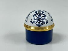 Halcyon Days Neiman Marcus Blue White Willow Enamel Dome Box - Perfect for Ring