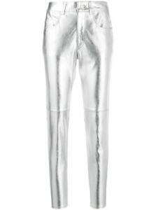 Women Genuine Lambskin Trousers Metallic Pants Silver Leather Designer Leggings