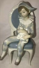 New listing Large ! Lladro Young Harlequin Jester Clown on Chair with Cat Figurine # 1229