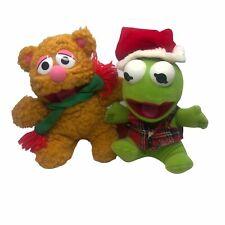 Vintage 1987 Christmas Kermit The Frog Fozzie Bear Plush McDonalds Happy Meal