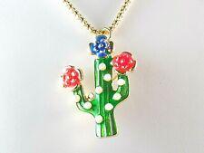 BETSEY JOHNSON Enamel Crystal CACTUS FLOWER Fashion Pendant Necklace USA 2186