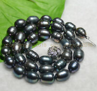 """New NATURAL 10-11MM TAHITIAN RICE BLACK PEARL NECKLACE 18"""""""