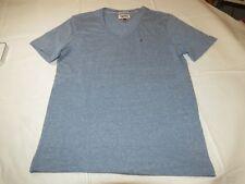 Mens Hilfiger Denim American Brand short sleeve v neck t shirt Blue Hthr S NWOT