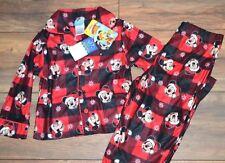 Disney Mickey 2 Piece Flannel Sleepwear Pajama Set Santa Mickey Red Plaid PJ