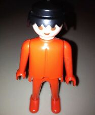 Vintage 1970s Geobra Playmobil Red Figure with Black Hair Great Condition!
