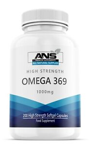 Omega 3 6 & 9 1000mg High Strength EPA & DHA liquid softgels 200 per pack