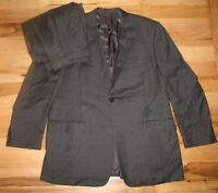 Canali Mark Shale Black Wool Two Button Formal Dress Suit Mens 49 R Pants 38x31