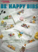 Be Happy Bibs in Counted Cross Stitch Leisure Arts 2437 1993 Baby Bibs