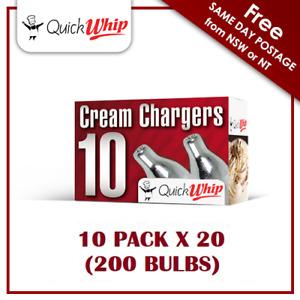 200 Cream Chargers QuickWhip - 10 PACK X 20 (200 BULBS) - N2O Pure Nitrous Oxide