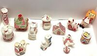 Vintage Lot of 12 Red White Flocked Mixed Christmas Ornaments ~ Japan