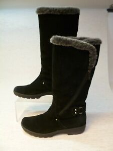 Ladies black suede leather knee high boots by Aquatania UK size 5