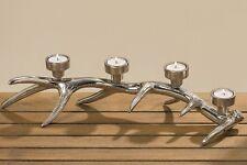 Teelichthalter Geweih L 50 Cm Aluminium Silber