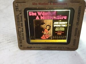 """1924 Movie Ad FOX  Glass Slide """"She Wanted A Millionaire"""" Spencer Tracy"""