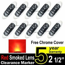 10X  Smoked Lens Red Truck Side Marker Clearance Light Oval Chrome 3 LED 12V DC