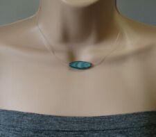 Dark Green Mother Of Pearl Shell Horse Eye Floating illusion Necklace Nice!!