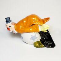 "Vintage Circus Clown on Ball Figurine Hand Painted Japan Ceramic 6"" L 4"" H"