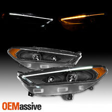 Fits 2017 2016 Ford Fusion Led Drl Switchback Signal Black Projector Headlights