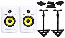 "(2) KRK RP5G3W Rokit White 5"" Active Powered Studio Monitors+Stands+Foam Pads"