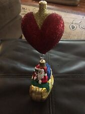 Patricia Breen Love Is In The Air Santa Heart Balloon 2 Piece Ornament