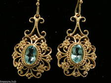 E016 Genuine 9ct SOLID Rose Gold Natural TOPAZ Earrings Filigree Drops Dangle