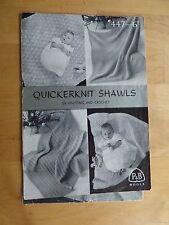 Vintage 1950s Pattern P&B 447 - 3 Baby Shawls to Knit, + 1 to Crochet
