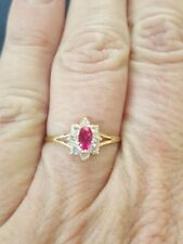 Ruby Oval Cut And White Sapphire Ring 14kt Solid Yellow Gold