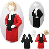 Kids Judge Lawer Robe Fancy Dress Up + Wig Set Outfit Halloween Cosplay Costume
