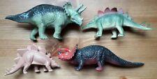 4x Plastic Dinosaurs - 2x Triceratops & 2x Stegosaurus - USED