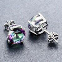 925 Silver Round Cut Mystic Rainbow Fire Topaz Stud Earrings Jewelry