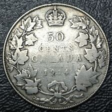 OLD CANADIAN COIN 1914 - 50 CENTS - .925 SILVER - George V - WWI era - KEY DATE