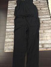 Ann Taylor Loft Black Button Down Sleeveless Jumpsuit Drawstring Tie XL stretch