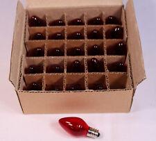 Red Twinkle Blinking Light Bulbs - E12 Candelabra Base, 7 Watt C7 - Box of 25